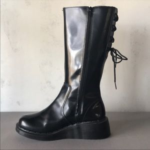 Dr. Martens MidCalf Back Corset Lace Up Wedge Boot